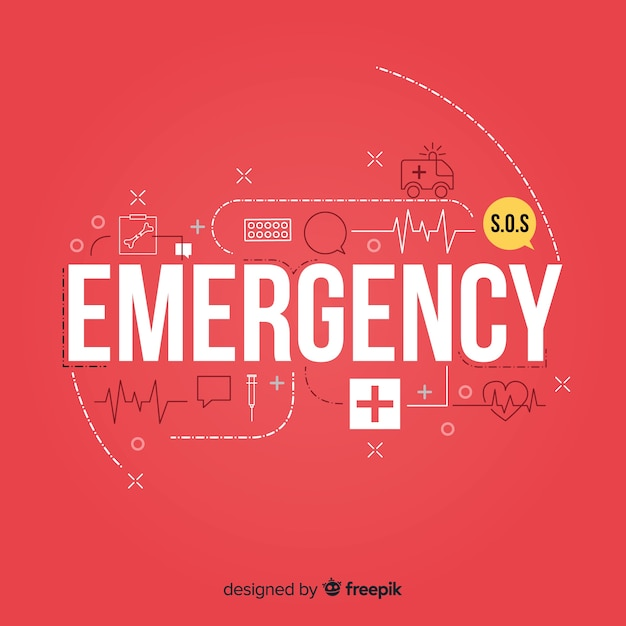 Modern emergency word concept with flat design Free Vector