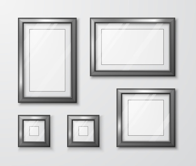 Modern empty frame template with transparent glass and shadow Premium Vector