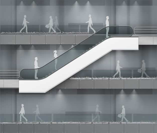 Modern escalator with place for advertising side view  on office mall shopping center business building interior background Premium Vector