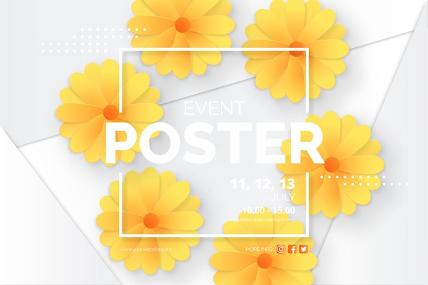 Modern event poster template with paper cut daisies Free Vector