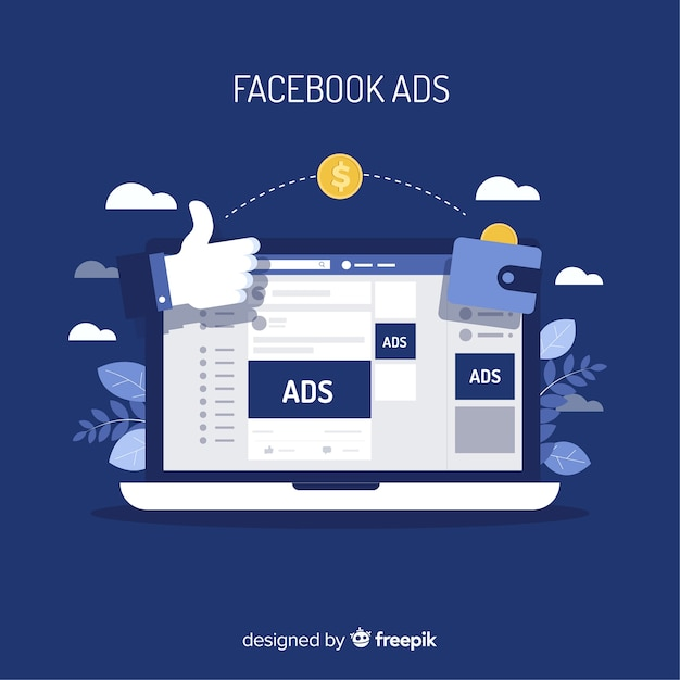 Modern facebook ads concept with flat design Free Vector