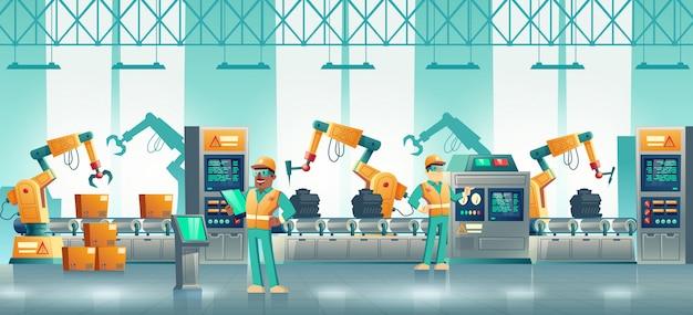 Modern factory robotized conveyor cartoon Free Vector