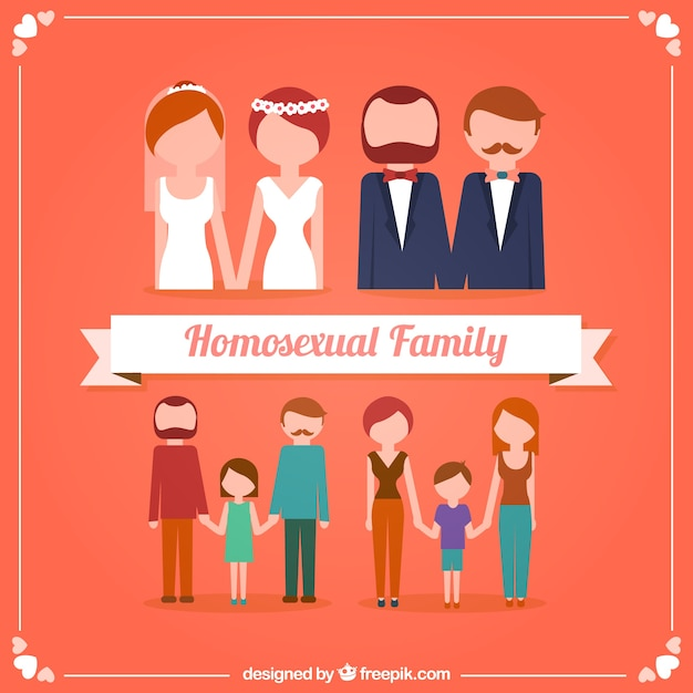 Modern families Free Vector
