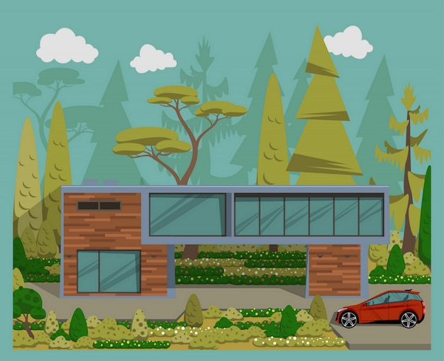 Modern family house whith car. Premium Vector