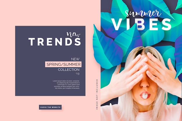 Modern fashion banner template Free Vector