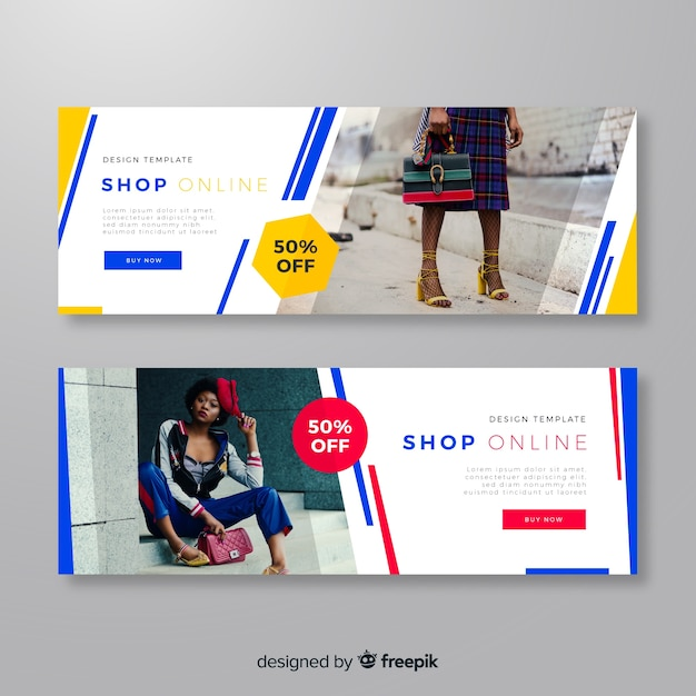 modern fashion banners with photo vector free download
