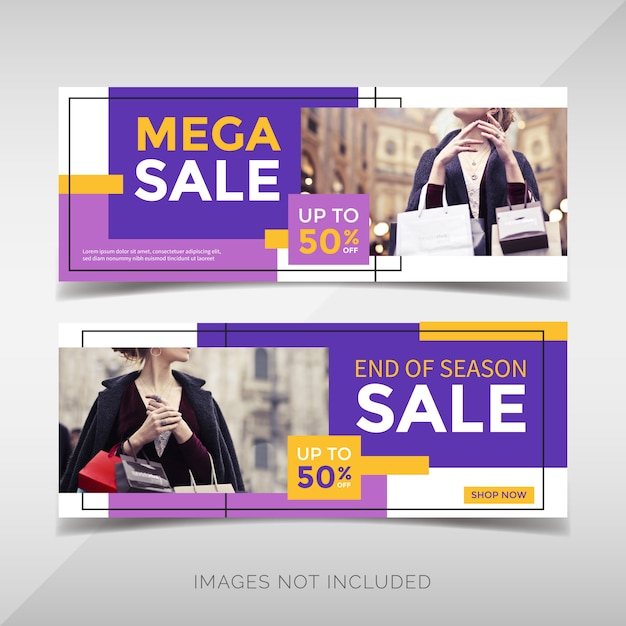 Modern fashion sale banner with geometric shapes Premium Vector
