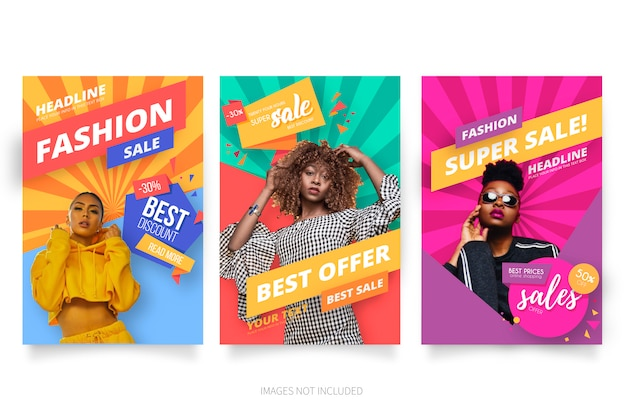 Modern fashion sale poster collection Free Vector