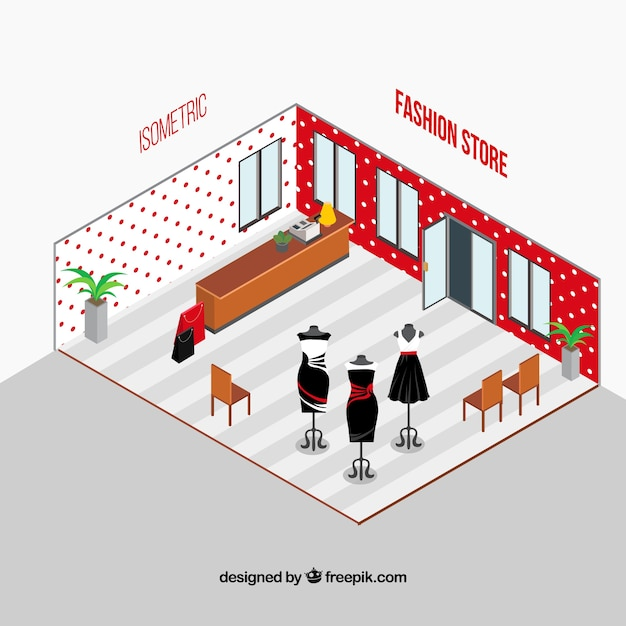Modern fashion store in isometric style
