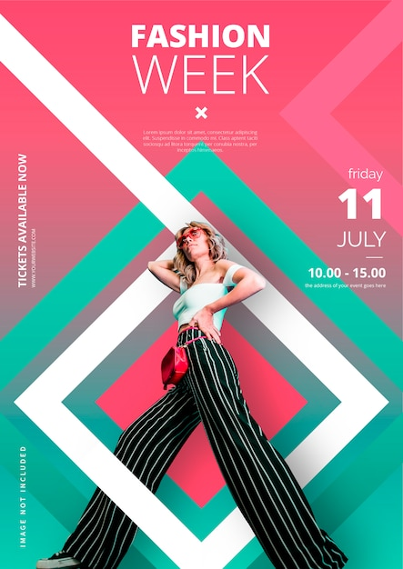 Free Vector | Modern fashion week poster template