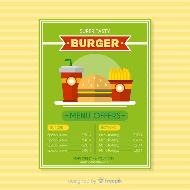 Modern fast food restaurant flyer template Free Vector