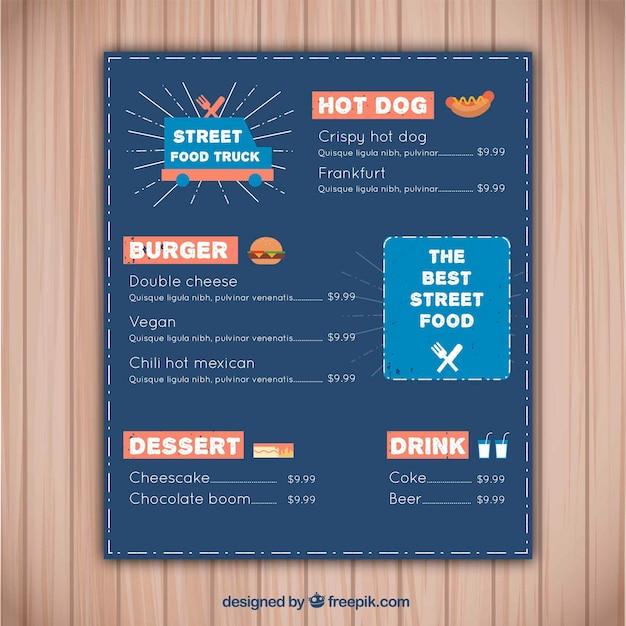 Modern fast food truck menu