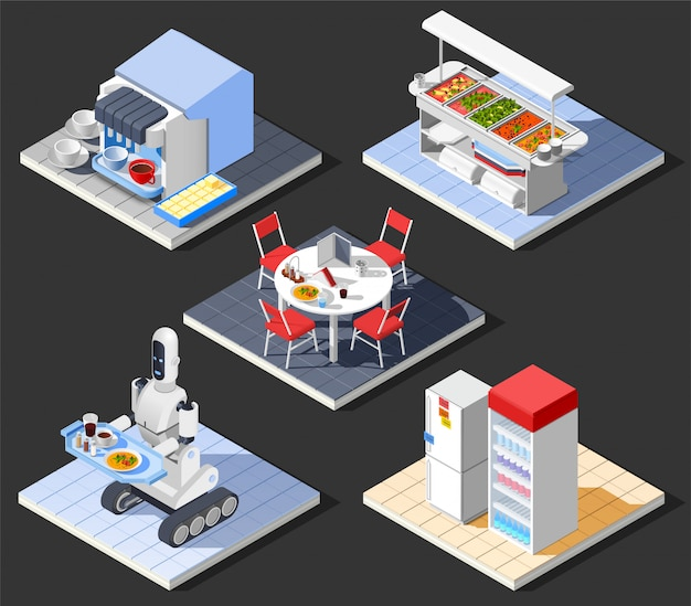 Modern fastfood cafe composition Free Vector