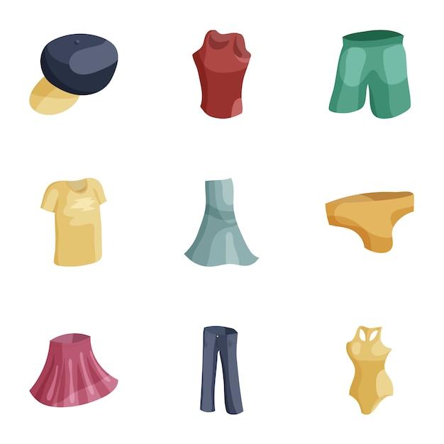 Modern female clothes icons set, cartoon style Premium Vector