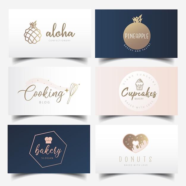 Modern feminine bakery business card design with editable logo Premium Vector