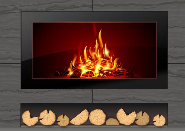 Современный камин с огнем Premium векторы