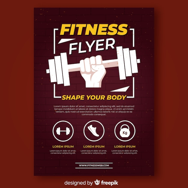 Modern fitness flyer template Free Vector