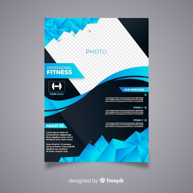 Modern fitness flyer with abstract design Free Vector