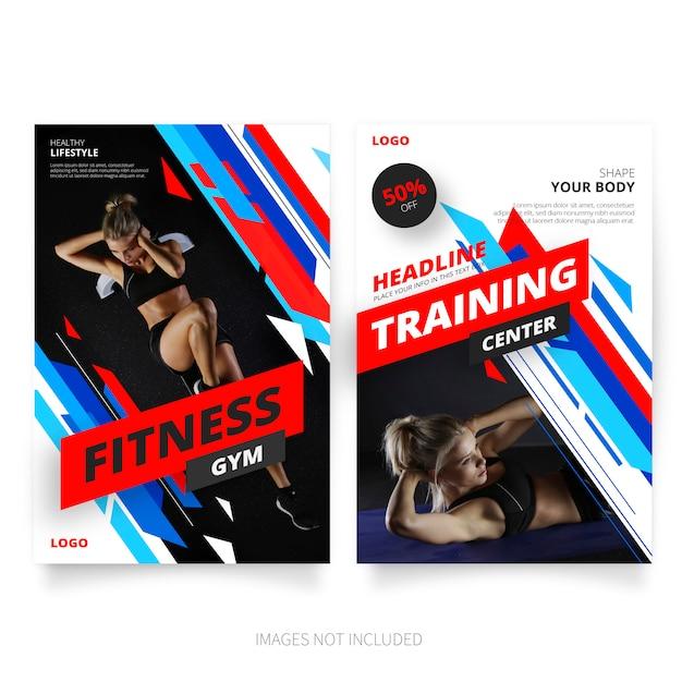 Modern fitness & gym brochure templates Free Vector