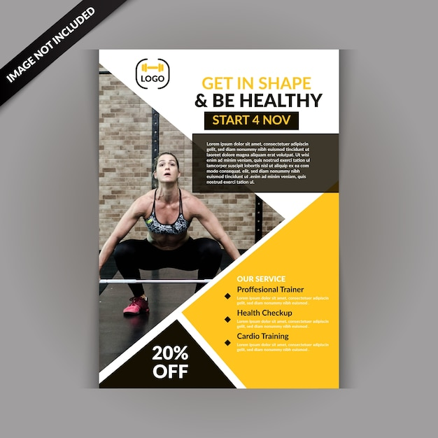 Modern fitness gym flyer Premium Vector