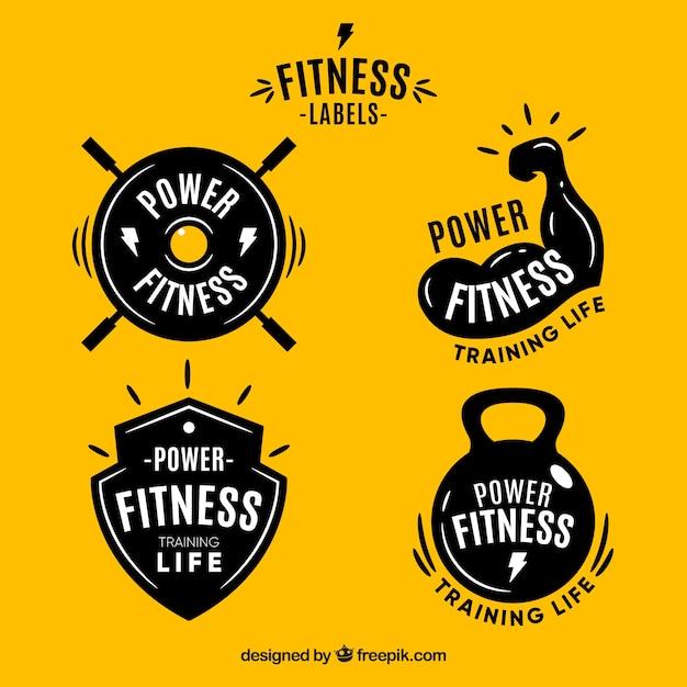 Modern fitness label set Free Vector