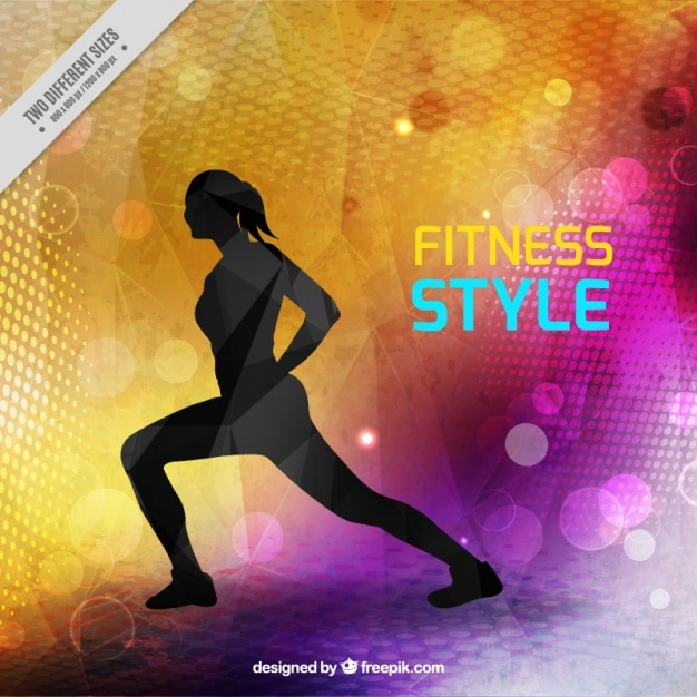 Modern fitness style background with woman silhouette