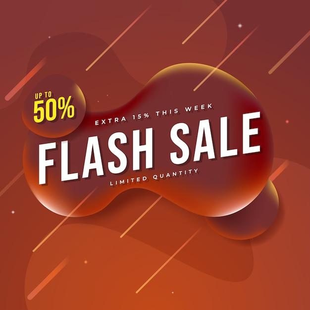Современная флэш-продажа баннер на жидкости Premium векторы