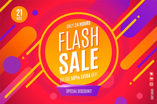 Modern flash sale banner template with abstract shapes Free Vector