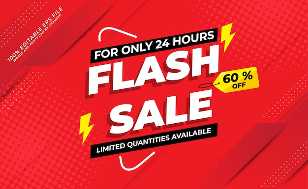 Modern flash sale banner with 60 off Premium Vector