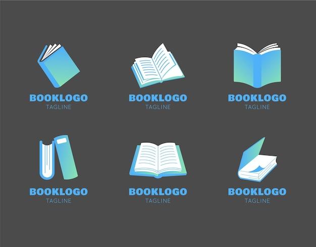 モダンなフラットブックのロゴパック 無料ベクター