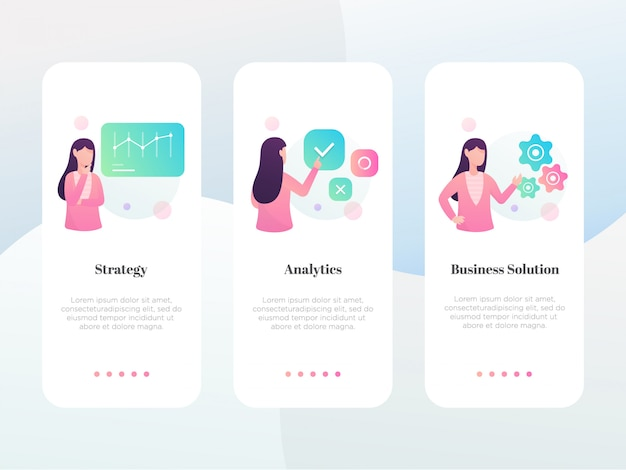 Modern flat business onboarding screen collection Premium Vector