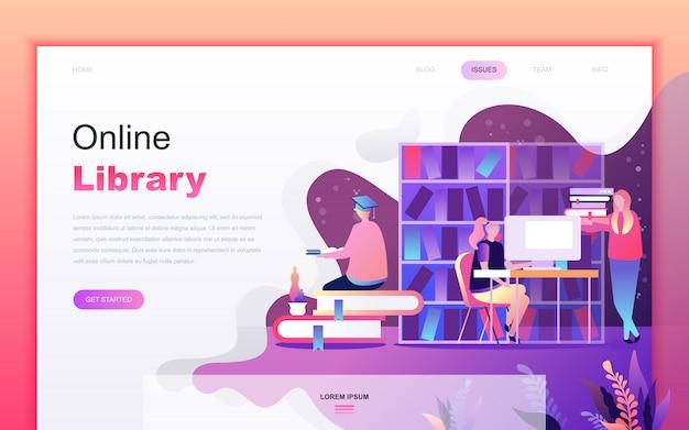 Modern flat cartoon of online library Premium Vector