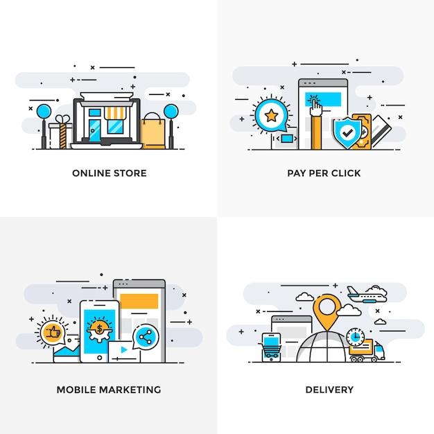 モダンなフラットカラーラインは、オンラインストア、クリックごとの支払い、モバイルマーケティングおよび配信の概念アイコンを設計しました。 Premiumベクター