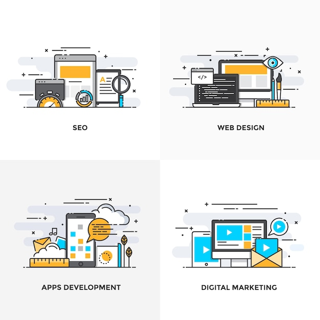 モダンなフラットカラーラインは、seo、webデザイン、アプリ開発、デジタルマーケティングのコンセプトアイコンを設計しました。 Premiumベクター