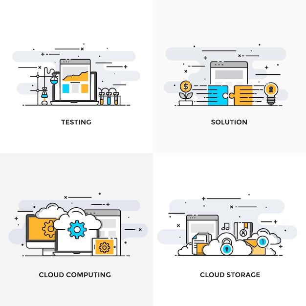 モダンなフラットカラーラインは、テスト、ソリューション、クラウドコンピューティング、クラウドストレージのコンセプトアイコンを設計しました。 Premiumベクター