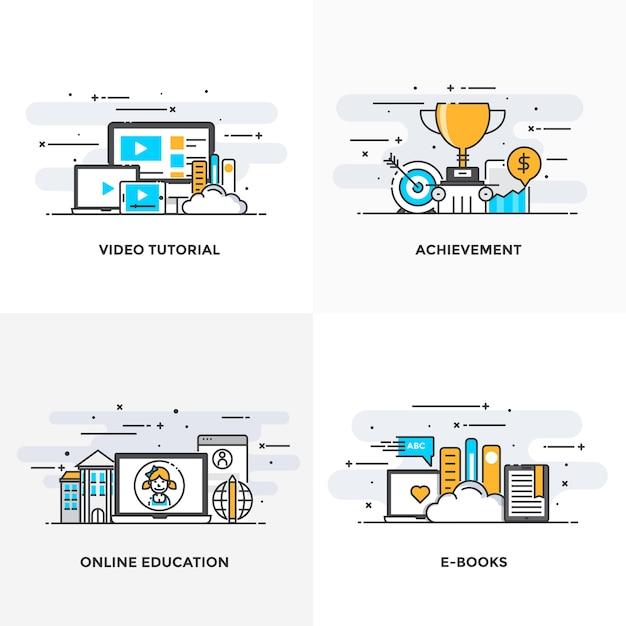 モダンなフラットカラーラインは、ビデオチュートリアル、達成、オンライン教育、eブックのコンセプトアイコンを設計しました。 Premiumベクター