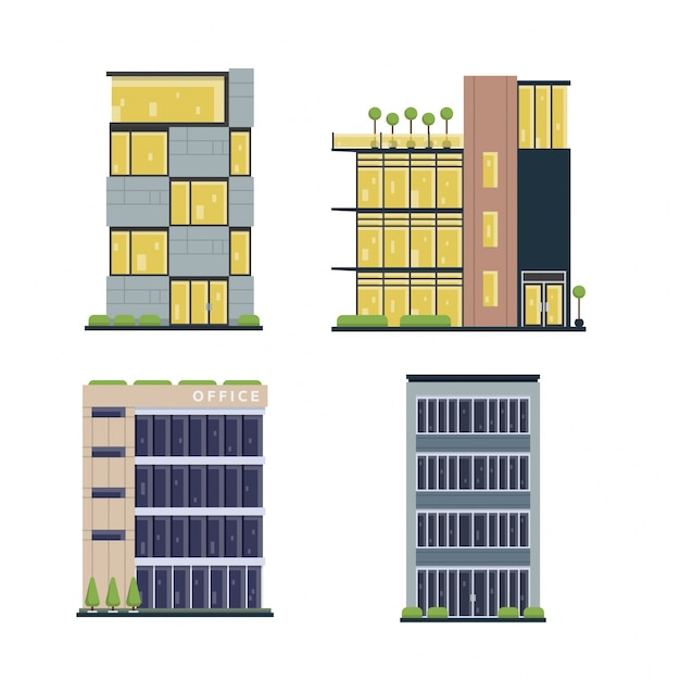Modern Flat Commercial Office Building Set Free Vector