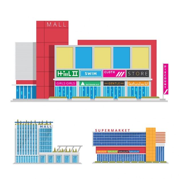 Modern Flat Commercial Urban Shopping Mall Illustration Free Vector