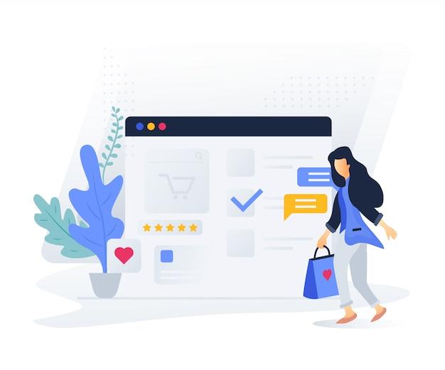 Современная плоская концепция интернет-магазинов для сайтов и мобильных телефонов Premium векторы