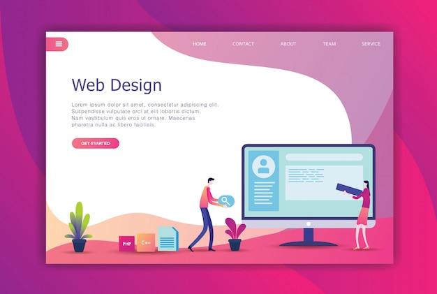 Modern flat design business landing page Premium Vector