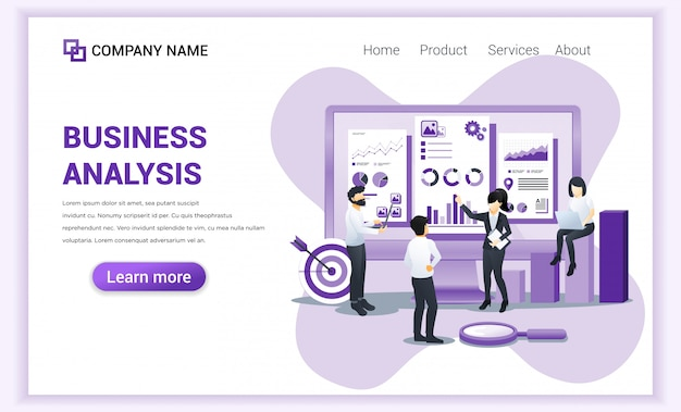 Modern flat design concept of business analysis with characters. auditing, financial consulting. Premium Vector