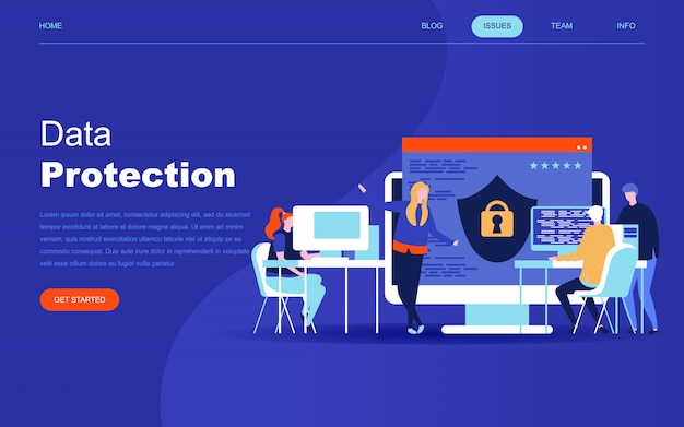 Modern flat design concept of data protection Premium Vector