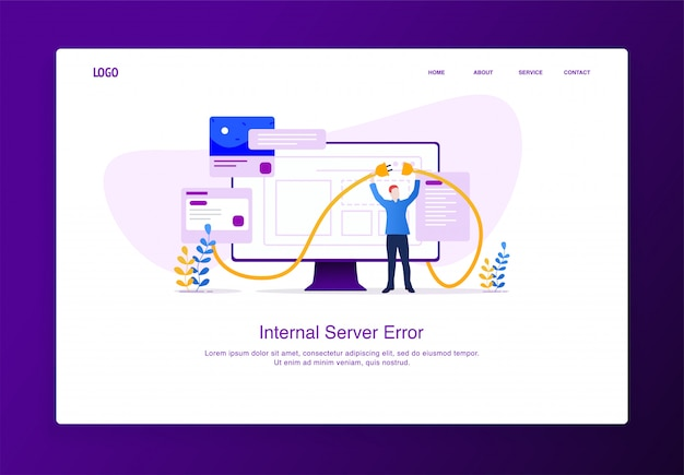 Modern flat design concept of man trying to connect kabel