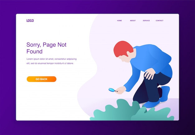 Modern flat design concept of man with magnifying glass searching something missing Premium Vector
