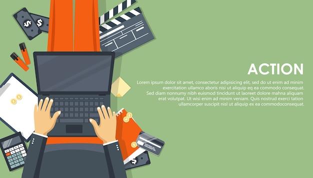 ウェブサイトとモバイルウェブサイトのビジネス戦略とアクションのモダンなフラットデザインコンセプト Premiumベクター