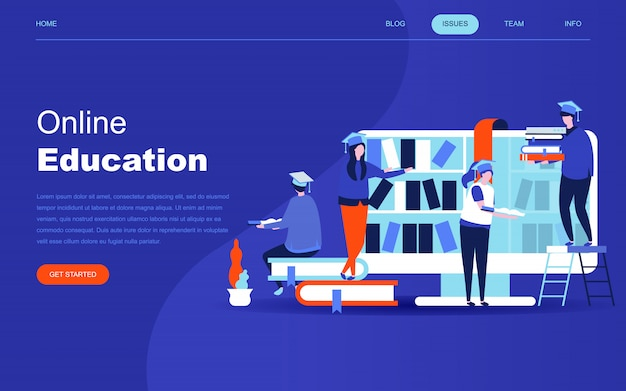 Modern flat design concept of online education Premium Vector