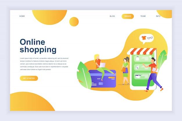 Modern flat design concept of online shopping for website Premium Vector