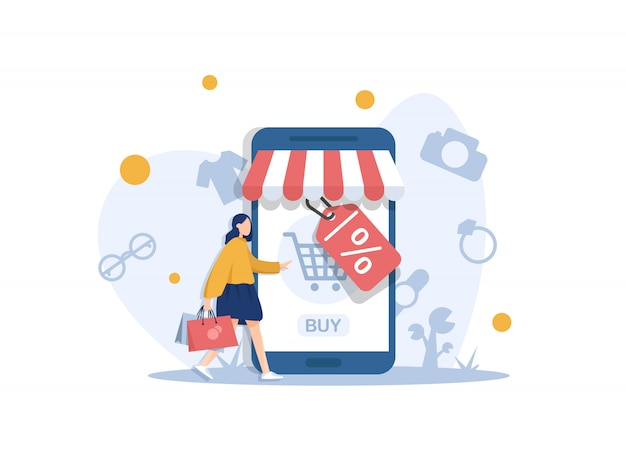 Modern flat design concept of online shopping with small people,mobile website development. ui and ux design Premium Vector
