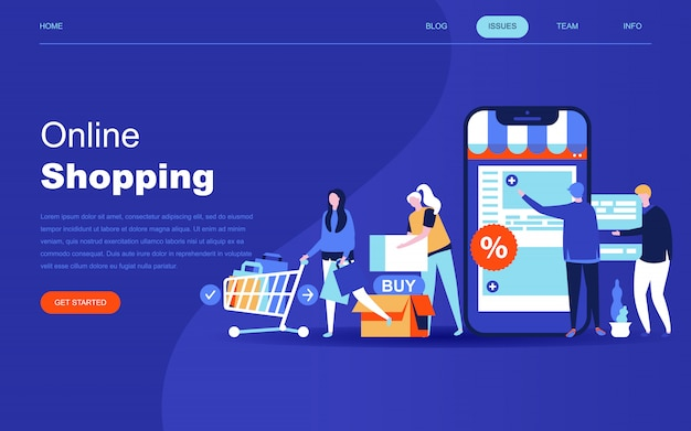 Modern flat design concept of online shopping Premium Vector