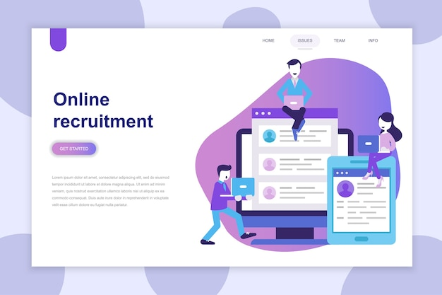 Modern flat design concept of recruitment for website Premium Vector
